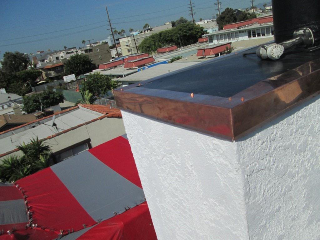 marina del rey - copper flashing chimney cap - copper metal edge