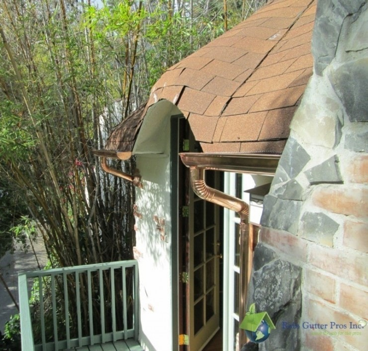 shingled roof with copper gutters