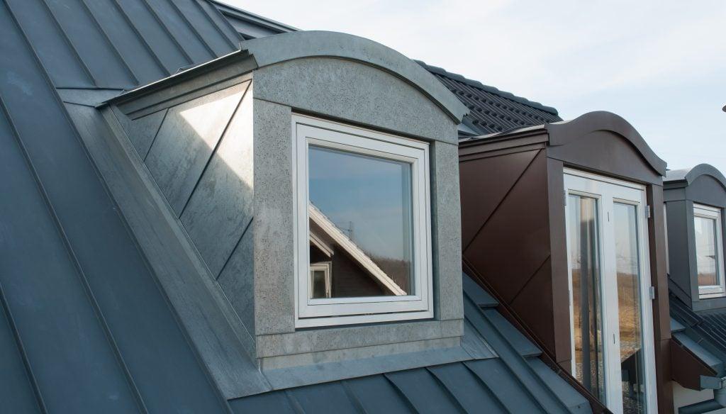 Metal roofing with dormer window
