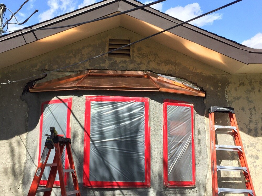Copper bay window roof installation